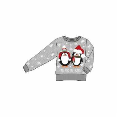 Grijze kinder kersttrui met pinguins